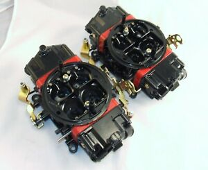 Pair Holley 850 Double Pump Mechanical Secondary Supercharger Blower Carbs 671