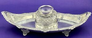 Sterling Silver Desk Inkwell London 1901