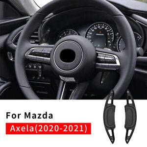 Black Steering Wheel Shift Paddle Shifter Extension For Mazda 3 Axela 2020 2021