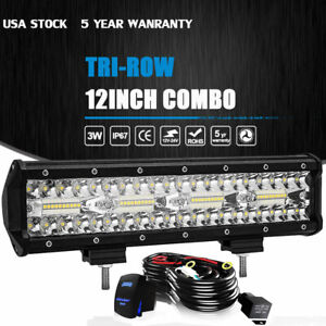 12inch Led Light Bar Tri row Combo Work Driving Ute Truck Suv 4wd Boat 14 Wire