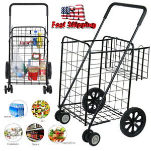 Jumbo Folding Heavy Duty Shopping Cart Utility Trolley Portable For Grocery New