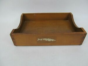 Vintage Dovetail Wood Memo Letter Box Paper Tray 15 X 10