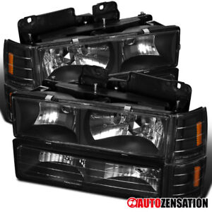 For 94 98 Gmc C10 Sierra Suburban Black Headlights Corner Bumper Lamps