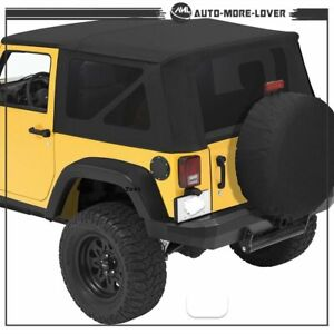 For 2010 2018 Jeep Wrangler 2 Door Replacement Soft Top Tinted Rear Windows