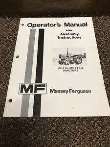 Genuine Original Massey Ferguson 210 210 4 Tractor Operators Operation Manual