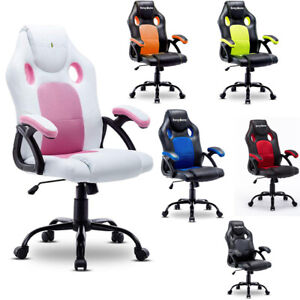 Computer Gaming Racing Chair Desk Swivel Office Executive Pu Leather Adjusteble