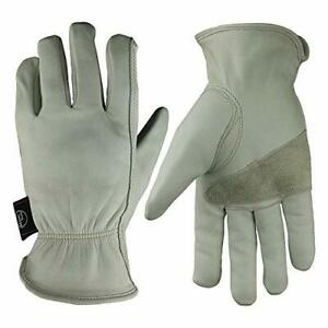 Leather Work Gloves Grain Cowhide For Yard Work Medium Elastic Wrist white