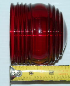 Vintage Auto Motorcycle Red Heavy Glass Lens Lamp Tail Light Nice