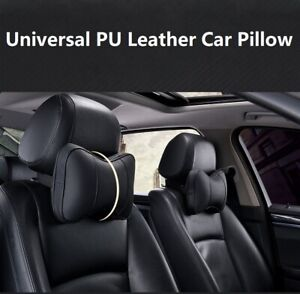 Universal Fit Car Seat Cushion Headrest Neck Pillow Pu Leather Comfortable
