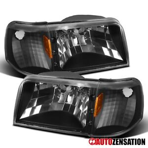 For 1993 1997 Ford Ranger 1pc Style Black Headlights W Led corner Signal Lamps
