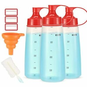 Condiment Squeeze Bottle Wide Mouth Ondiomn 3 Pack 400ml Clear Bottles For Oil