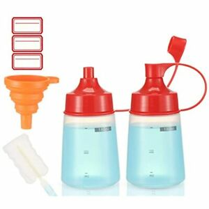 Condiment Squeeze Bottle Wide Mouth Ondiomn 2 Pack 180ml Clear Bottles For Oil