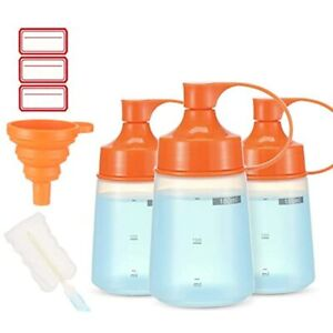 Condiment Squeeze Bottle Wide Mouth Ondiomn 3 Pack 180ml Empty Reusable Bottles