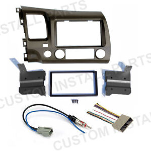 Taupe Double Din Car Radio Dash Kit Wiring Harness Fits 2006 2011 Honda Civic
