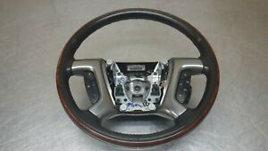 Chevrolet Gmc Tahoe Yukon Steering Wheel Black Leather Wood 07 14