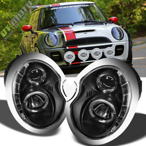 Black 2002 2006 Mini Cooper Projector Headlights W drl Led Daytime Running Lamps