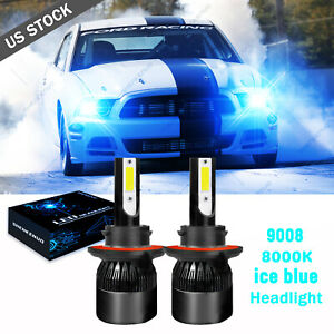 Led Headlight Hi low H13 9008 Ice Blue Cree Bulbs For 2005 2012 Ford Mustang Gt