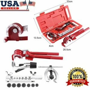 Us 11pcs Pipe Flaring Kit Brake Fuel Tube Repair Flare With Cutter Bending Tool