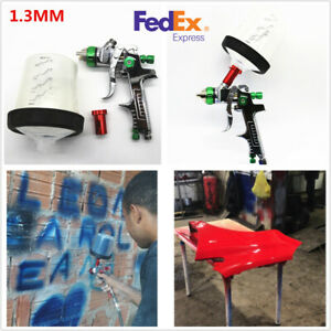 Pps Tank Hvlp Paint Spray Gun With Adapters 600ml Cup 1 3 1 4 1 7mm Nozzle Usa