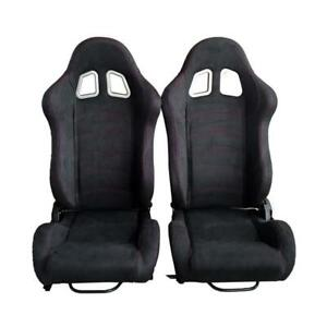 Universal Black Suede Leather Red Stitching Left right Racing Seats Pair
