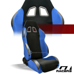 Universal 1pc Sp Black Blue Simulated Suede Racing Bucket Seat Passenger G06f