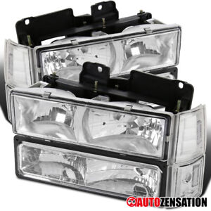 For 94 98 Gmc C10 Sierra Yukon Suburban Clear Headlights Corner Bumper Lamps