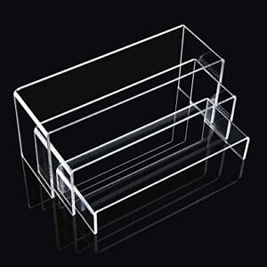 Acrylic Display Risers Clear Rectangle Stands Shelf For Display 6pcs