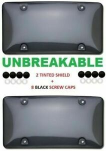 2 Unbreakable Tinted Smoke License Plate Holder Frame Bumper Shield Cover New