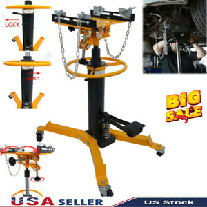 1500lbs Transmission Jack 2 Stage Hydraulic W 360 Swivel Wheels Lift Hoist Auto