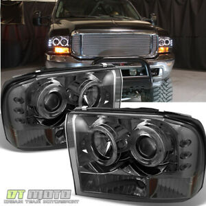 Smoked 99 04 F250 F350 Superduty Excursion Projector Led Headlights 1999 2004