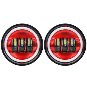 2pcs Motorcycle 4 1 2 4 5inch Led Passing Light Fog Lamps Halo Auxiliary Light