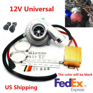 Car Auto Electric Turbo Supercharger Turbocharger Kit Air Filter Intake Us Stock