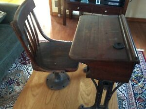 Antique Pine Chandler Boston Adjustable Childs School Desk Chair Iron Base