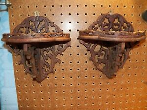 Vintage Pair Of Ornate Hand Carved Wood Wall Shelves Folding