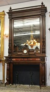 Antique Louis Xvi Walnut French Fireplace Mantle 10 Ft Carved Lions Clock C 1870