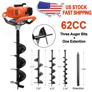 62cc Gas Powered Earth Drill Power Engine Post Hole Digger W 3 Auger Drill Bits