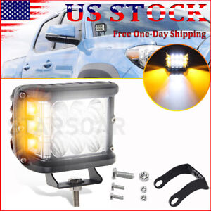 4 White Amber Cube Work Led Side Strobe Light Dual Color Driving Flash Lights
