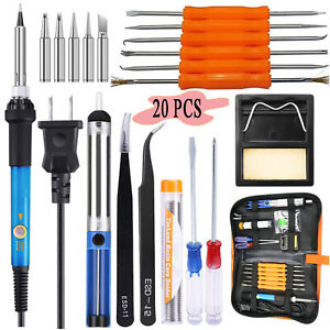 Electric Soldering Iron Gun Tool Kit 110v 60w Control Welding Station Tip Case