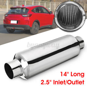 2 25 Inlet outlet Exhaust Muffler Resonator 14 Overall Round Stainless Steel