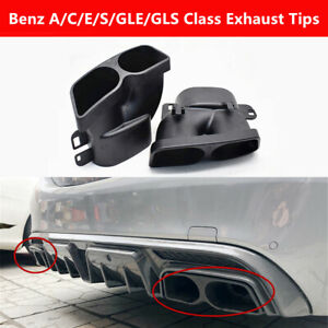 Fit Mercedes Benz C E S Gle C63 E63 S63 Amg Black Rear Exhaust Tips Muffler Pipe