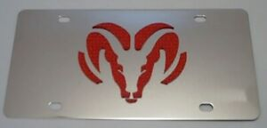 Dodge Ram Tag Chrome Stainless Steel Vanity License Plate Red Logo