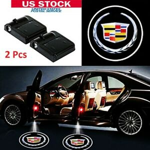 2x Wireless Car Door Lamp Welcome Courtesy Led Light Projector Logo For Cadillac