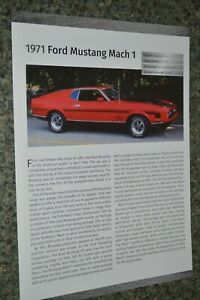 1971 Ford Mustang Mach 1 Info Spec Sheet Photo Feature Print 71 I