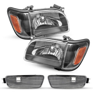 For 2001 2004 Toyota Tacoma Black Replacement Headlights Headlamp Assembly