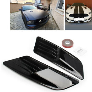 2pcs Black Hood Scoop Intake Vent For Racing Car Universal Hoods Vents Cover Fits 2005 Ford Mustang