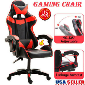 Gaming Chair Racing Ergonomic Recliner Office Home Computer Seat Swivel Footrest