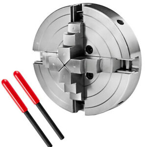 New 4 jaw Steel Lathe Chuck Self centering W 2 Leverage Cnc Milling Drilling