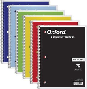 6 Pack Spiral Notebooks College Ruled Paper 70 Sheets Colored Note Books