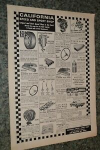 1966 California Speed And Sport Shop Original Advertisement Ad 66 Auto Supply