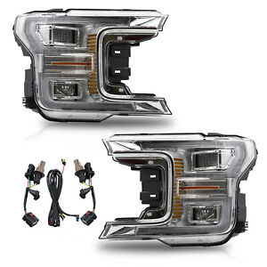For Ford 2018 2020 F 150 Chrome With Sequential Turn Signal Full Led Headlights